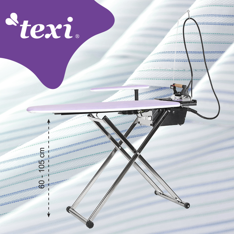 Ironing table with automatic steam generator, iron, steam brush and anti-shine PTFE shoe