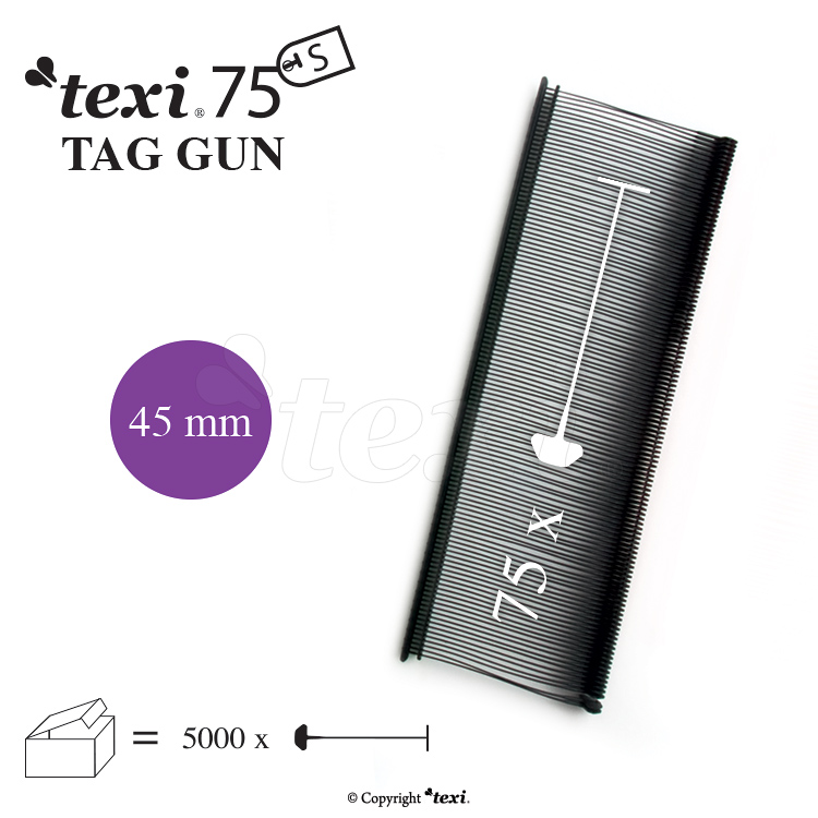 Tagging pins 45 mm standard, black, 1 single box = 5.000 pcs