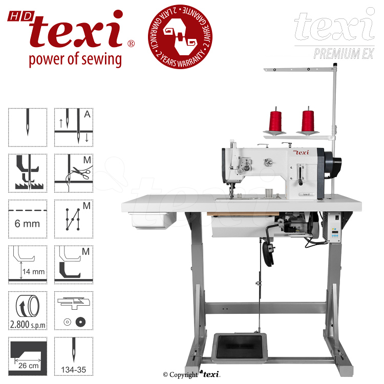 Upholstery and leather lockstitch binding machine with unison feed, large hook, AC Servo motor and needle positioning - complete with 2 years warranty