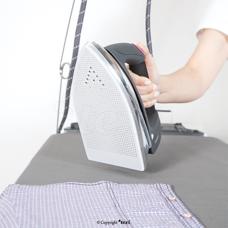 Compact ironing table with automatic, integrated steam generator and iron - PTFE shoe for iron and bottle for filling steam generator tank for FREE!