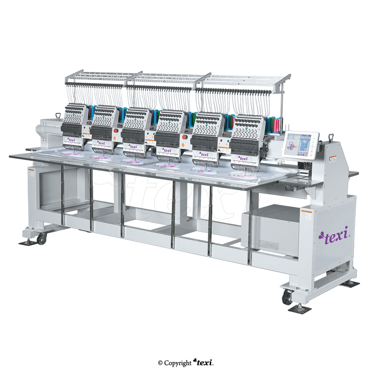Industrial, six-head, twelve-needle embroidery machine