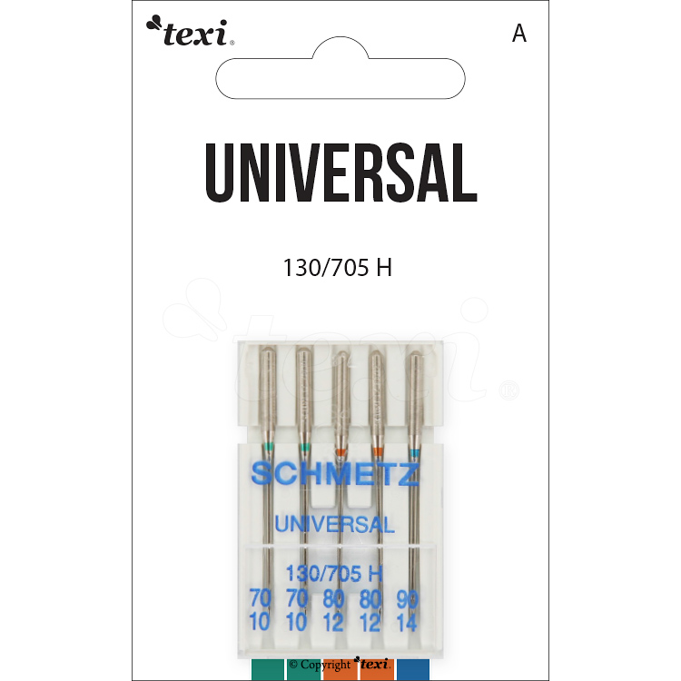 Universal needles for household machines, 5pcs, size 70x2, 80x2, 90x1