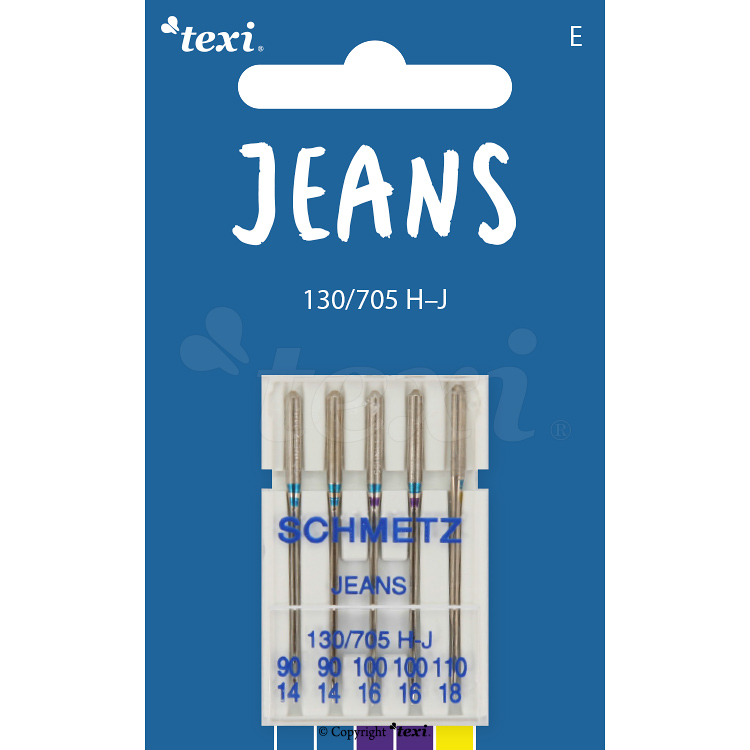 Jeans needles for household machines, 5 pcs, size 90x2, 100x2, 110x1