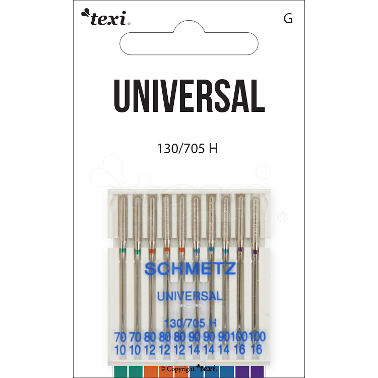 Universal needles for household machines, 10pcs, size 70x2, 80x3, 90x3, 100x2