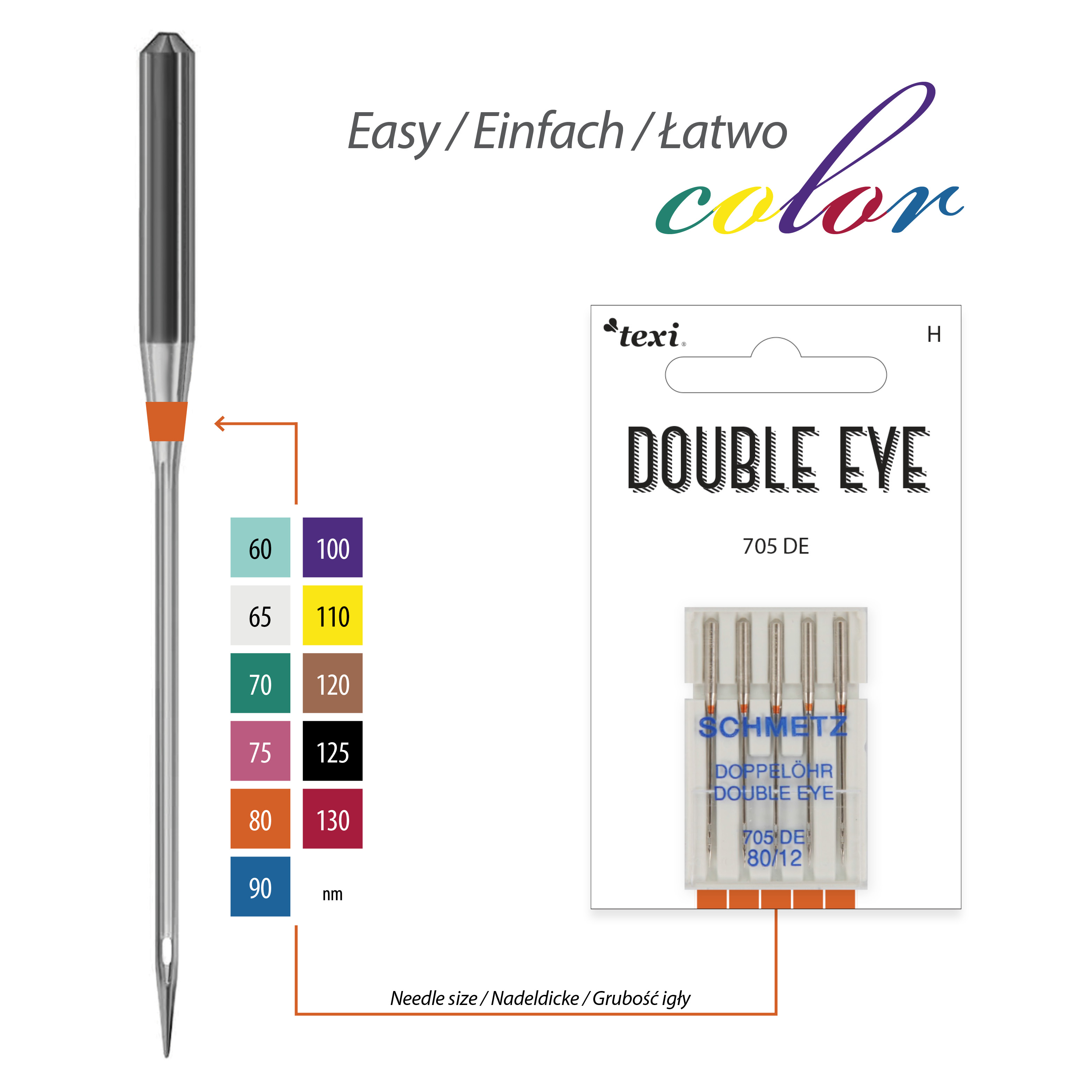 Double eye needles for household machines, 5 pcs, size 80