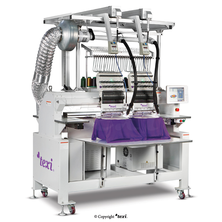 TEXI 1502 TS PREMIUM LC SET is a 15-needle, two-head embroidery machine with laser instrumentation for cutting patterns.